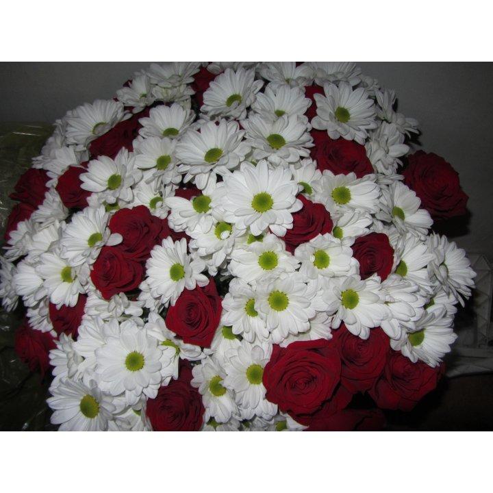Букет хризантемы с розами