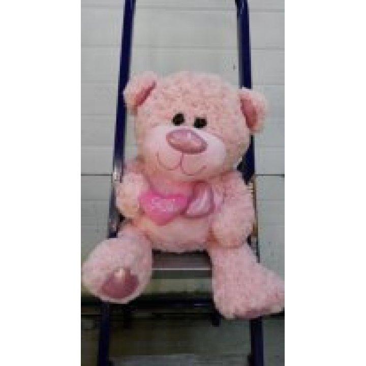 Мишка розовый средний