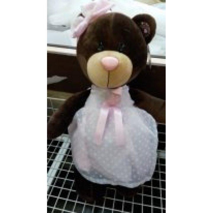 Мишка Choco&Milk в платье с брошкой 50 см