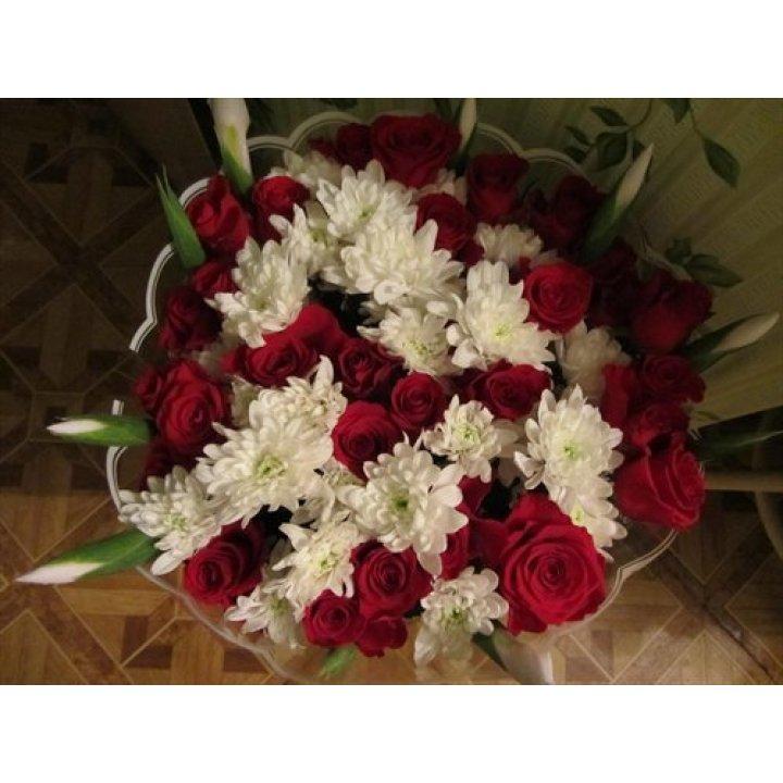 Букет Розы, Хризантемы, Ирисы