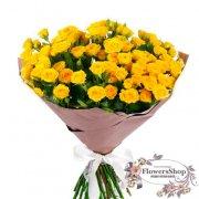 Букет желтых роз Yellow Baby 70 см 25 шт