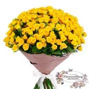 Букет желтых роз Yellow Baby 70 см 101 шт